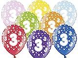 12 Luftballons 30 cm zum 3. Geburtstag - Kindergeburtstag Ballon - Kleenes Traumhandel®