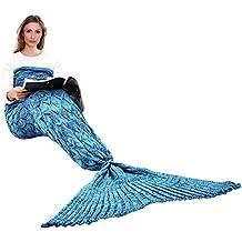 Hecho a mano de punto manta de cola de sirena todas las estaciones cálido sofá cama sala de estar manta para adultos, Patrón de Fish-escalas, Azúl, 195 x 90cm