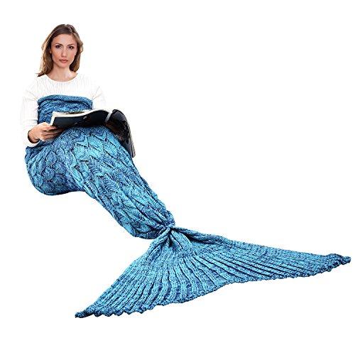 Outdoor-quilt (Handgemachte Meerjungfrau Schwanz Decke, Ecrazybaby888 Alle Jahreszeiten Warm Gestrickte Bettdecke Sofa Steppdecke Wohnzimmer Schlafsack für Kinder und Erwachsene, Fischschuppen Muster, 195 x 90 cm, Blau)