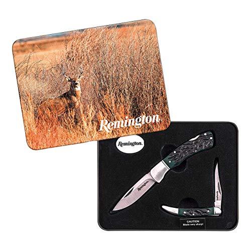 REMINGTON Taschenmesser-Set, Zwei Messer, Stahl 420J2, grün-schwarzes Hornimitat, Edelstahlbacken, Metallbox
