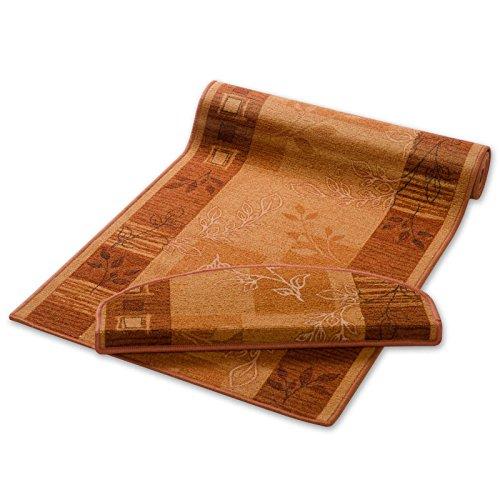 Teppich Läufer terra mit Pflanzenmusterung | Qualitätsprodukt aus Deutschland | GUT Siegel | kombinierbar mit Stufenmatten | 3 Breiten und 27 Längen (80 x 150cm) (5x7 Teppich Rutschfest)
