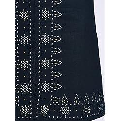 oodji Ultra Mujer Falda de Lino con Decoración Metálica Étnica, Azul, ES 40 / M