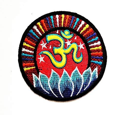 Tap Tap Buddha Hindu Symbol Patches Parche Bordado con diseño de Loto Budista de la Suerte, con el Logotipo de la Paz, Hippie, Retro, para Chaqueta, Motociclista, Motociclista