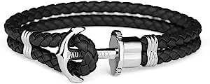 PAUL HEWITT PHREP argento ancoraggio cinturino nero in pelle