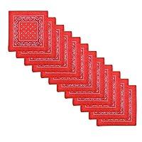 Alotpower 100% Cotton Headbands Bandanas Handkerchiefs 12 pack,Red