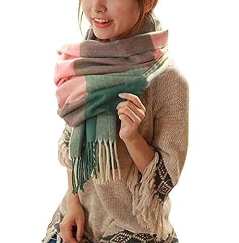 SMITHROAD Schal Poncho Groß Kariert Damen mit Fransen Mehrfarbig Umschlagtücher Winter Herbst Farbe