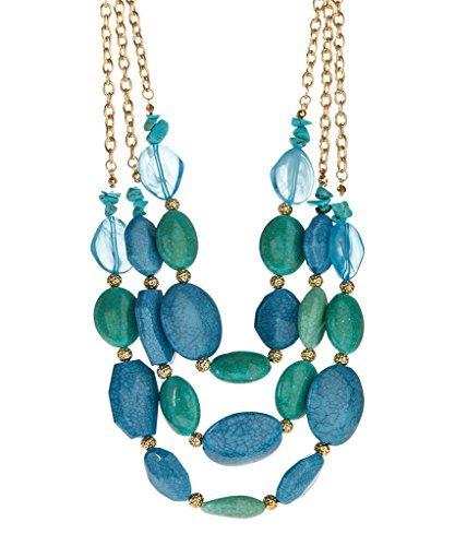 Lux accessori, colore: turchese con perline & Mint-Collana a filo triplo