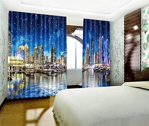 ty Nacht Szene Drucken Blackout Vorhänge, 100% Polyester Oberflächengewebe mit Winter Warm, aber Sommer Cool, für Schlafzimmer Wohnzimmer Home Decor, 2 Panels Set , 118*106 inch (Winter-szene)