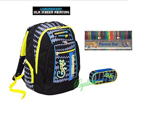 ZAINO SEVEN SCUOLA NEW ADVANCED Gecko BOY ragazzo nero + ASTUCCIO zip + omaggio 30 penne glitterata