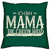 Soreso Design Muttertagsgeschenk für Oma Dekokissen :-: Ich Bin Mama die Chefin Hier Geschenk für Frauen zum Muttertag Kissen und