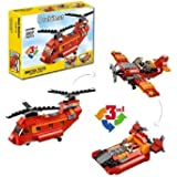 FunBlast Decool 3107 Architect Series 3 in 1 – Fighter Helicopter, Fighter Jet, Fighter Boat Building Block Brick Educational