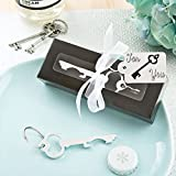 Set of 6 Classy Silver Key Bottle Opener Wedding & Party Bag Filler Favours - (2 Pack)