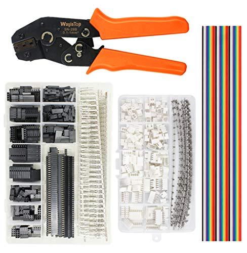 WayinTop Crimpzange Stecker Set, Crimpwerkzeug AWG28-18 0,1-1mm² Dupont Steckverbinder und Crimp Pins Stiftleiste mit 2,54mm JST-XH Stecker Kit + 1M 40pin Jumper Wire (Crimpzange Stecker Set)