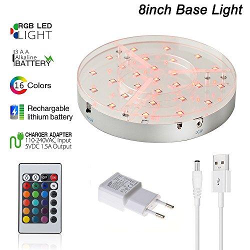 Kitosun Shisha LED Untersetzer Base Lights Effekt Licht für Wasserpfeife 20CM Durchmesser, 3.5CM hoch, 28pcs Mehrfarben LED-Lichter, nachladbar, ferngesteuert ?