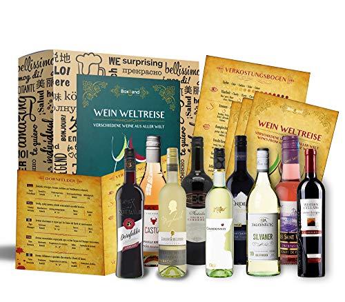 Wein Geschenk Set (9 x 0,25l)   besonderes Weingeschenk Box ausgefallene Geschenkidee für Frauen Männer Freund Freundin für Weihnachten Geburtstag (Wein-set)