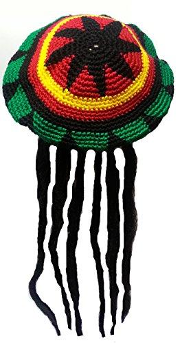 Fasching Erwachsene Strick-Mütze, Jamaika-Rasta Rastafari & Dreadlocks,