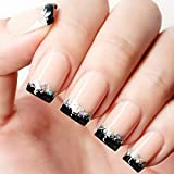 Bridalvenus 24Pcs/Set Bridal False Nails Set Full Cover Short Square French Nude Pink and Black Fake Nail Tips with Design Press on Nails with Glue an