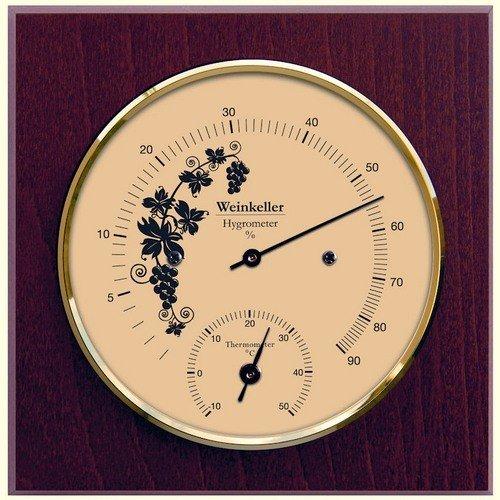 Fischer Weinkeller Thermometer und Hygrometer im Holzgehäuse Erzgebirge