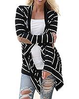Ularmo Frauen Beiläufige Lange Hülsen Gestreift Jacken Outwear