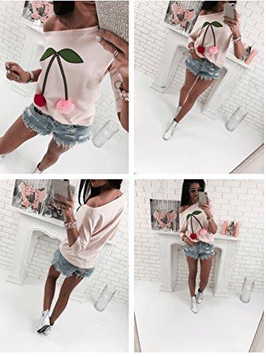 Damen Bluse langarm shirt mit Schulterfreies Pullover Sweatshirt Oberteil Tops Hemd Pink