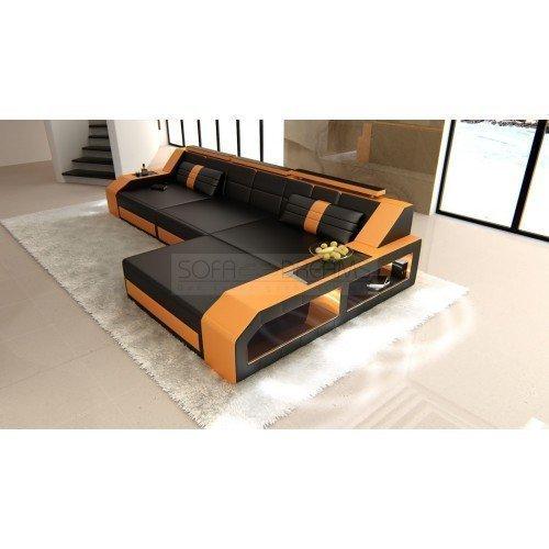 CANAPÉ EN CUIR AREZZO l-forme noir orange Canapé d'angle design