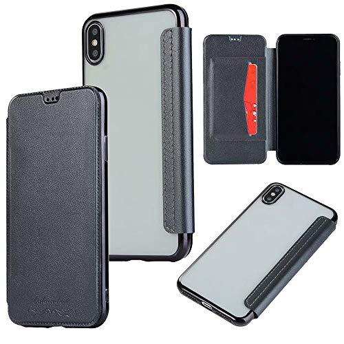 QINPIN Shock Absorption Bumper Glitter Leder Flip Case Schutzhülle für iPhone XS MAX 6.5 Grau