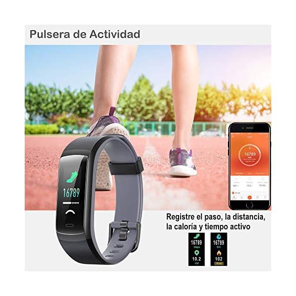 willful Pulsera de Actividad, Pulsera Inteligente con Pulsómetro Reloj Inteligente Impermeable IP68 Pulsera para Deporte Pulsera Actividad Inteligente para Mujer Hombre Niño para Android iOS Teléfono 2