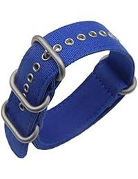 22mm azul Premium Deluxe estilo de la NATO robusto exótica tela suave tipo Reloj pulsera de los hombres del deporte