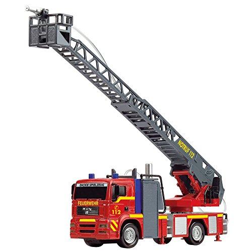 Dickie Toys 203715001 – City Fire Engine, Feuerwehrauto mit manueller Wasserspritze, 31 cm - 3