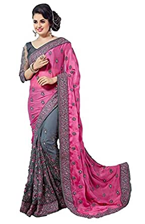 Pragati Fashion Hub Women's Sattin & Net Half N Half Embroidery Work With Diamond's Saree Pink...P608