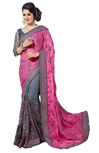 Pragati Fashion Hub Women\'s Sattin / Net Embroidery Work With Diamond\'s Saree Pink...P608