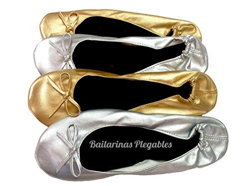 Bailarinas Plegables Plata Tala: L:39,40,41