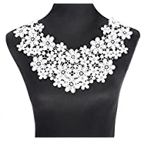 yulakes blanco floral bordado cuello cuello de encaje venise lace Applique Patch Lace Trim vestido de boda Tela DIY costura