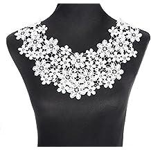 b02b0fccc7b0 yulakes blanco floral bordado cuello cuello de encaje venise lace Applique  Patch Lace Trim vestido de