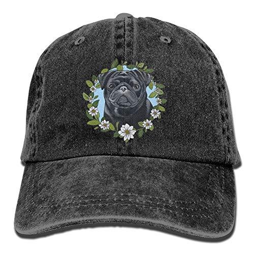 Schwarzer Mops mit einem Blumenkranz einstellbar Cowboy Style Baseball Cap Hut für Unisex Erwachsene