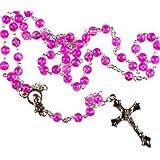 Pink Rosary. Rosary Bead Prayer Bead .Metal crucifix. Catholic Rosary Bead.
