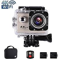 """Ankere Sport Aktion WIFI Kamera 4K Ultra HD Unterwasser 30m Wasserdichte, 170 ° Weitwinkel Cam, 2,0 """"LCD-Bildschirm, mit Zubehör(2 Batterien + 2,4G Fernbedienung + Stativ + Ladegerät) - 16MP Silber"""