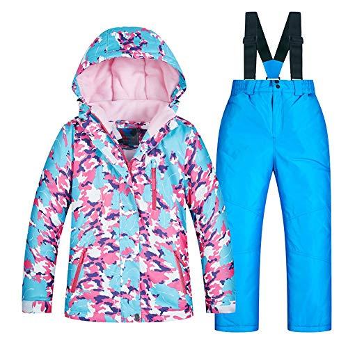 Yzibei Wasserabweisender, winddichter Skianzug für Kinder Kinder Skibekleidung Mädchen Set verdicken warm und Winddicht wasserdicht (Farbe : C2+Blue Pants, Größe : 14 Yards) - 14 Für Ski-jacken Mädchen-größe