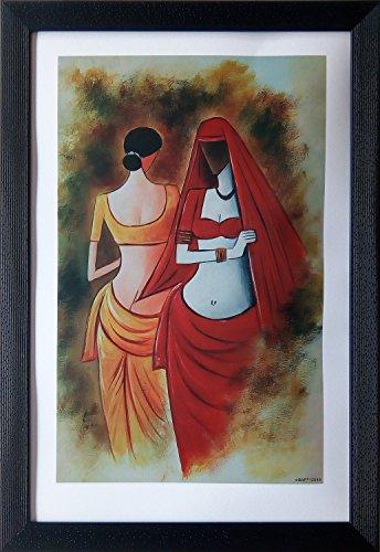 Shree Handicraft Modern Art Indian Women Painting Photo Frame Wall Hanging (34 cm x 49 cm x 1 cm)