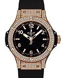 Hublot Big Bang de la Mujer Oro Diamante Negro Goma y Dial