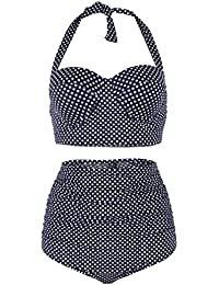 9f90faa6e1e78 Leslady Eté Maillot de Bain Femme 2 Pièces Tankini Taille Haute Bikini Pin  Up Rétro à