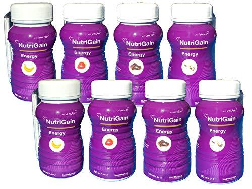 NutriGain Energy Trinknahrung hochkalorisch Probierset 8 x 200ml Flaschen (1.600 ml Flüssigkeit) compact trinkfertig, Sorten: Vanille, Schoko, Banane, Erdbeer
