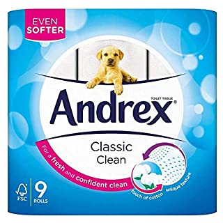 Kimberley Clark VKC4970125 - Andrex Toilet Tissue White (5 Packs of 9 Rolls = 45 Rolls) (B0048DRZVC) | Amazon price tracker / tracking, Amazon price history charts, Amazon price watches, Amazon price drop alerts