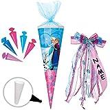 Unbekannt Set _ Schultüte + 5 kleine Zuckertüten -  Disney die Eiskönigin - Frozen  - 35 cm - rund - incl. individueller _ großer Schleife - mit Namen - mit Tüllabsch..