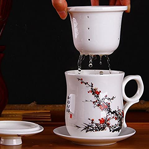 XIDUOBAO Chinese Style Porcelain Handmade Kung Fu Tea Cup,Ceramic Tea Cup With Loose Leaf Tea Brewing System - Beautifully Designed Tall Tea Infuser Cup With Saucer & Lid