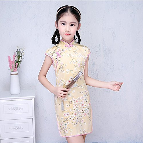 GUYIVVU Dress,Cheongsam Chinese Traditional Dress Floral Pattern Girls Dress Casual Teenagers Performance Costume Party Costume Children Clothing 3-14Y,A,S