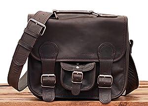 LE CARTABLE (S) Bolso bandolera de piel, tamaño pequeño, estilo vintage, color marron oscuro, bolsa por la ciudad PAUL MARIUS Vintage & Retro