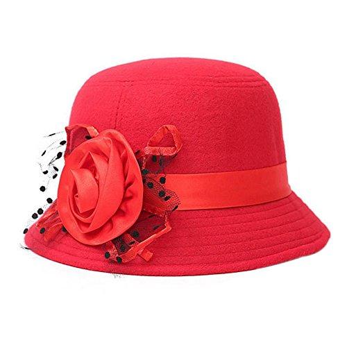 Dosige Damen Filzhut Eleganter Hut Melone Mütze Winterhut Fischerhut Mode Mütze mit Blumen Herbst und Winter (Rot)