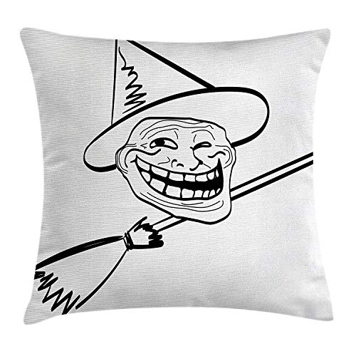 Trsdshorts Humor Decor Throw Pillow Cushion Cover, Halloween Spirit Themed Witch Guy Meme LOL Joy Spooky Avatar Artful Image, Decorative Square Accent Pillow Case, 18 X 18 inches, Black White