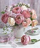 NAXIEE DIY Diamant Malerei,5D Diamond Painting Vollbohrer Stickerei rosa Rose Blumen in vase gem?lde Kreuzstich Kits Home Wand Decor(30 * 40cm)